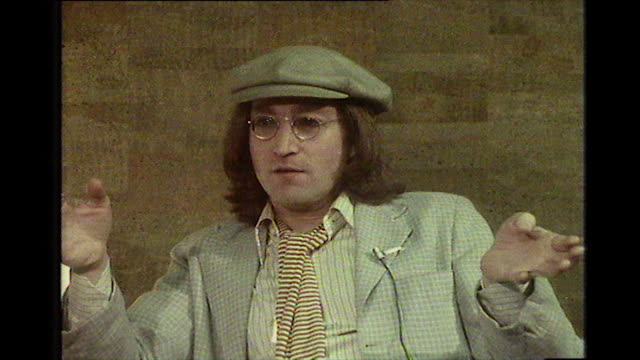john lennon speaking in 1975 about the difference between london and new york city and how much he loves the multiculturalism and rhythms in the city - 1975 stock videos & royalty-free footage