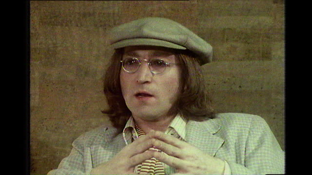 john lennon speaking in 1975 about working with george martin with the beatles and growing together - 1975 stock videos & royalty-free footage