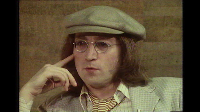 """john lennon, speaking in 1975, explaining how his depression affected him and how it was """"a constant thing all the time, just non-stop. it was like a... - beatnik stock videos & royalty-free footage"""