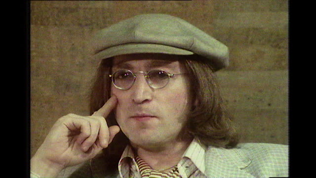 john lennon speaking in 1975 on his memories of working on the sergeant pepper's lonely hearts club band album and the front cover photo shoot - 1975 stock videos & royalty-free footage