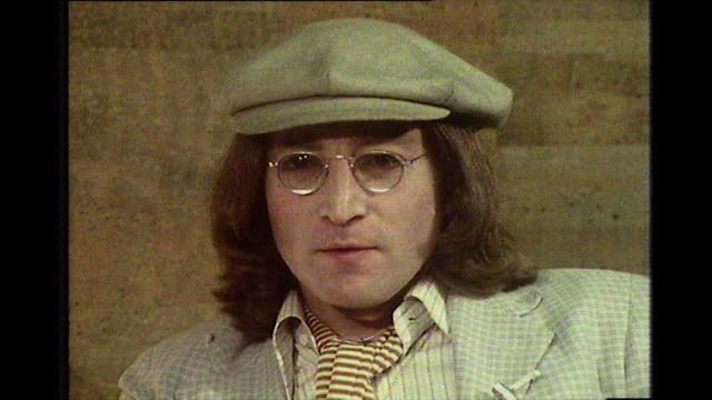 john lennon speaking in 1975 on missing aspects of the uk and chocolate olivers but is still fighting to obtain a green card to remain in the usa - 30 34 years stock videos & royalty-free footage