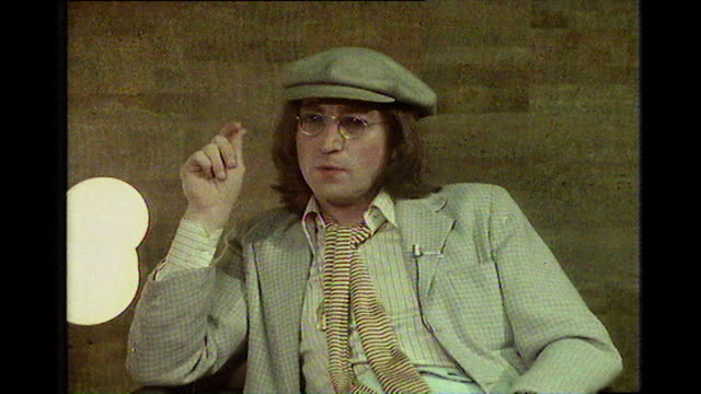 john lennon speaking in 1975 on the possibility of a beatles reunion we've all thought 'oh that would be nice that wouldn't be bad'if we wanted to do... - 1975 stock videos & royalty-free footage