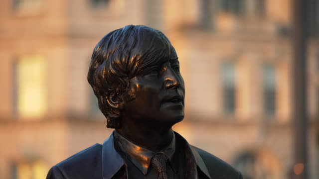 cu john lennon statue, liverpool - pop music stock videos & royalty-free footage
