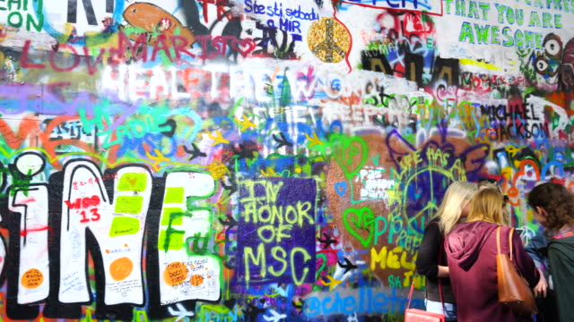 john lennon wall, prague - prague stock videos & royalty-free footage