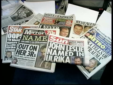 vídeos de stock, filmes e b-roll de john leslie cleared of sexual assault charges; lib newspaper headlines on leslie allegations lib ext/night ulrika johnsson posing for press at launch... - ulrika jonsson