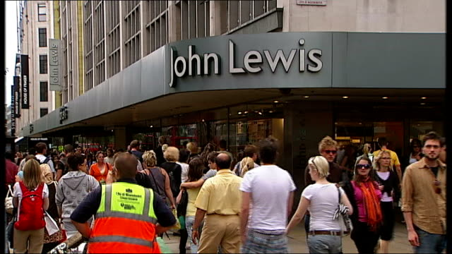 john lewis general views more exterior general views john lewis store building shoppers and traffic along on street outside / homeware steel cooking... - homeware stock videos and b-roll footage