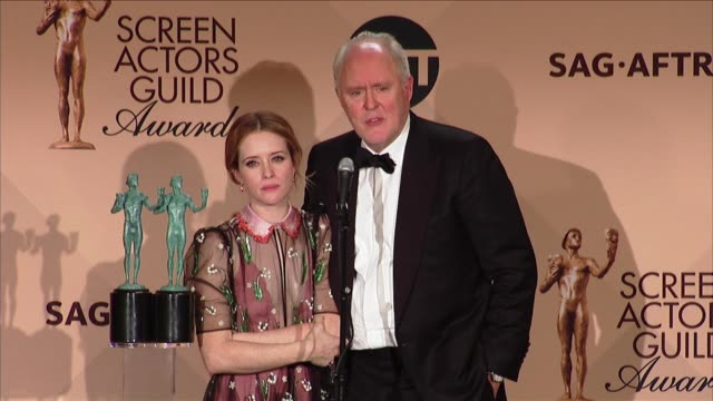 SPEECH John Lithgow Claire Foy at 23rd Annual Screen Actors Guild Awards Press Room in Los Angeles CA