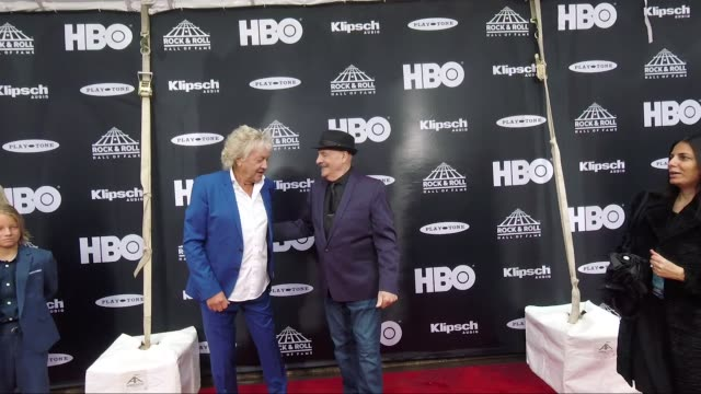 John Lodge and Mike Pinder at the 33rd Annual Rock Roll Hall of Fame Induction Ceremony Arrivals at Public Auditorium on April 14 2018 in Cleveland...