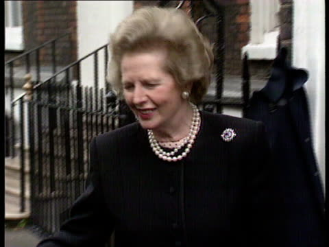 john major and conservative policy london ms thatcher out bldg into car driven - john major stock-videos und b-roll-filmmaterial