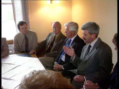 john major and tory policy; scotland: ayr: town zoom in over bay conservative association: side members up steps int photograph of lord younger on... - ayr stock videos & royalty-free footage