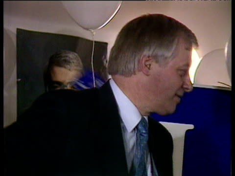 john major celebrating victory inside conservative party headquarters with wife norma chris patten douglas hurd and jubilant crowd 1992 general... - john major stock-videos und b-roll-filmmaterial