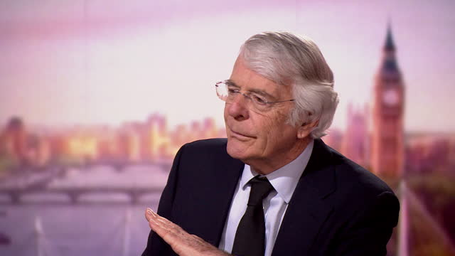 """john major saying a lot of prince philip's """"left field"""" remarks were intended to """"put people at ease"""" - """"bbc news"""" stock videos & royalty-free footage"""