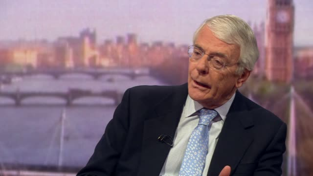 john major saying he isn't sure theresa may would stay on as prime minister if she were to get her brexit deal through parliament - britisches parlament stock-videos und b-roll-filmmaterial