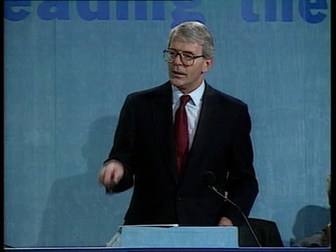 WALES Llangollen CMS John Major PM along at conference of Conservatives as smiling TGV Major receiving standing ovation MS Major taking place on...
