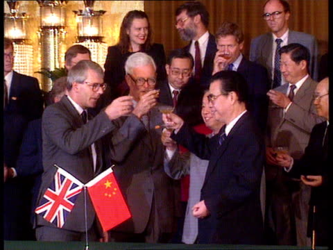 John Major visit Day 2 LMS Major Li Peng at signing table stand exchange documents ZOOM IN shake MS Major Hurd Li Peng Qian toast MS Li Peng invites...