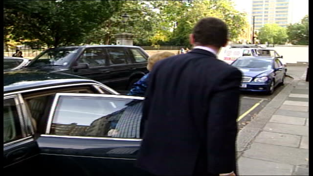 Affair revelations ENGLAND London Car pulling up and former Prime Minister Baroness Thatcher getting out PAN and ignoring questions about revelations...