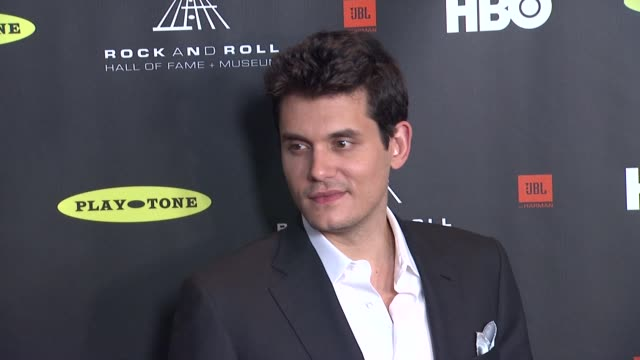 john mayer at 28th annual rock and roll hall of fame induction ceremony arrivals 4/18/2013 in los angeles ca - hall of fame stock videos and b-roll footage