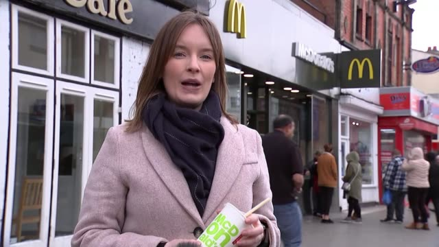 john mcdonnell describes mcdonald's annual monopoly prize draw as 'danger to public health' england int barbara crowther interview sot west bromwich... - mcdonald's stock-videos und b-roll-filmmaterial