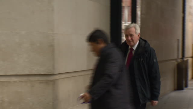 john mcdonnell entering bbc broadcasting house - john mcdonnell politician videos stock videos & royalty-free footage
