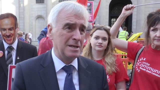 John McDonnell gives an interview at the Bank of England where he is supporting workers on strike over a belowinflation pay rise He calls for the...