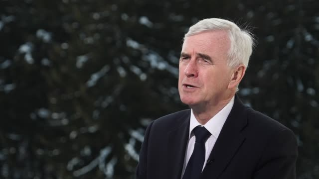 John McDonnell interview on GDP rise SWITZERLAND Davos EXT John McDonnell interview SOT