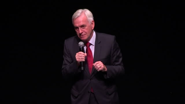 john mcdonnell introducing jeremy corbyn to the stage in salford as that socialist who's going to go into number 10 in a matter of weeks - john mcdonnell politician videos stock videos & royalty-free footage