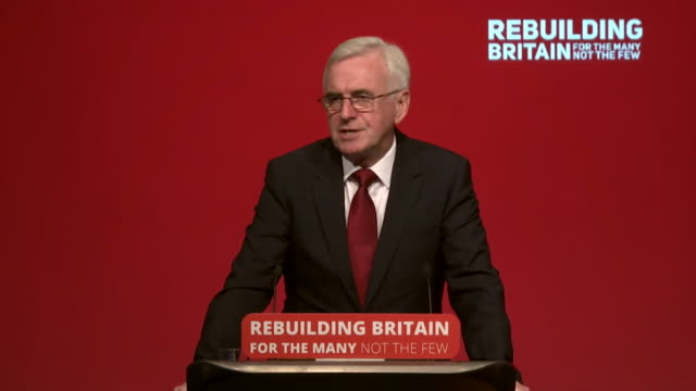john mcdonnell saying at the heart of labour's programme is the greatest extension of economic democratic rights that this country has ever seen - labor party stock videos & royalty-free footage