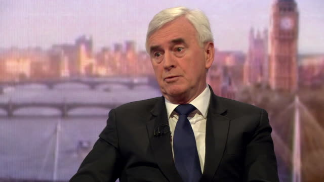John McDonnell saying he doesn't believe Theresa May 'is just stubborn she is floundering' over Brexit