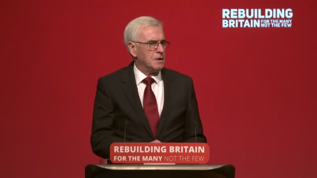 john mcdonnell saying the labour party believes workers who contribute to a company's wealth should share in its ownership and the returns that it... - labor party stock videos & royalty-free footage