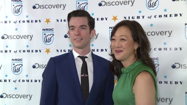 john mulaney and rhea suh at the natural resources defense council presents night of comedy benefit hosted by seth meyers at new york historical... - seth meyers stock videos and b-roll footage