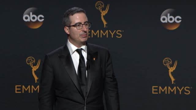 INTERVIEW John Oliver at 68th Annual Primetime Emmy Awards Press Room in Los Angeles CA