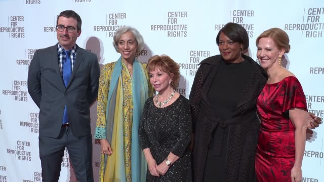 John Oliver Kavita Ramdas Isabel Allende Dawn Porter and Nancy Northup at Center For Reproductive Rights Gala at Jazz at Lincoln Center on October 25...