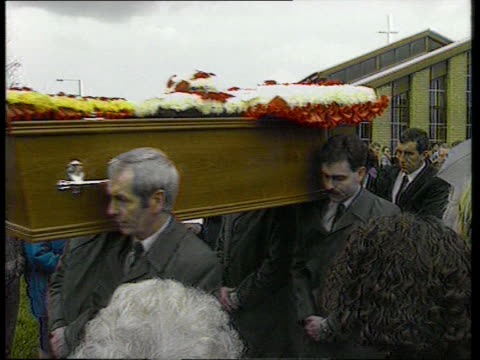 John Paul Gilhooley funeral mourners crying coffin along outside church Harrow schoolfriends of Hicks sisters attending funerals coffins of Sarah and...