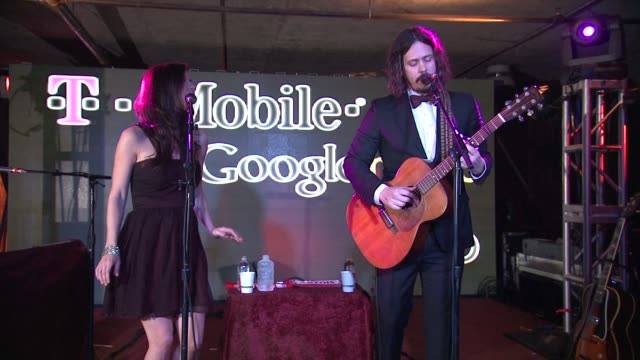 john paul white and joy williams at tmobile presents google music at tao day 4 in park city utah on 1/23/2012 - google brand name stock videos and b-roll footage