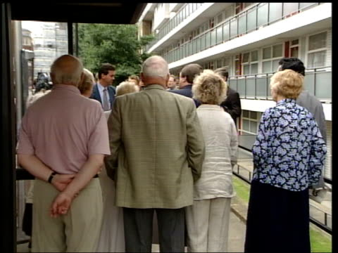 john prescott campaigns for reduced bus fares for pensioners and disabled people; england: london: ext john prescott mp and pensioners queueing up at... - prescott arizona stock videos & royalty-free footage