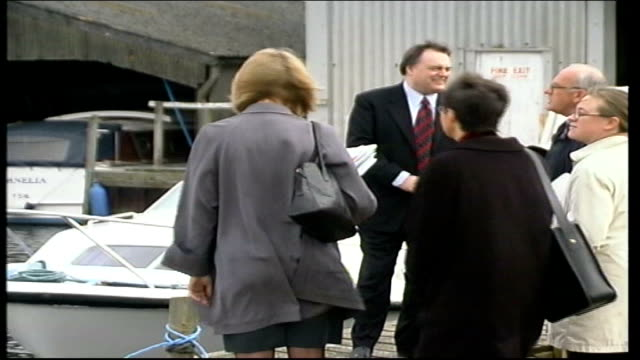 john prescott on boat at norfolk broads england norfolk norfolk broads ext john prescott mp along with others / prescott standing next to boat /... - {{asset.href}} stock videos & royalty-free footage