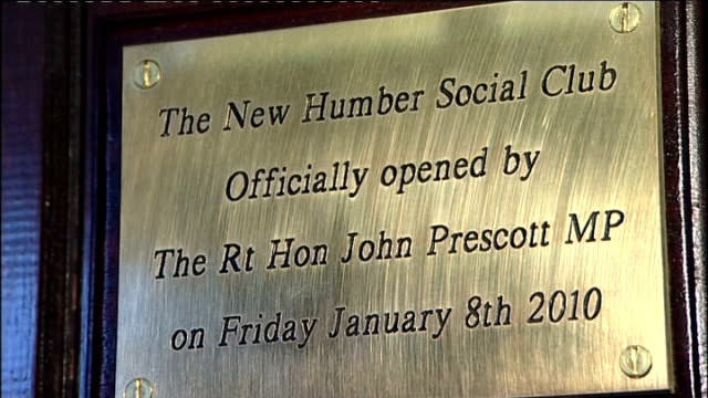 John Prescott takes seat in the House of Lords East Yorkshire KingstonuponHull Sign for Humber Social Club Plaque on wall Local men sitting in club...