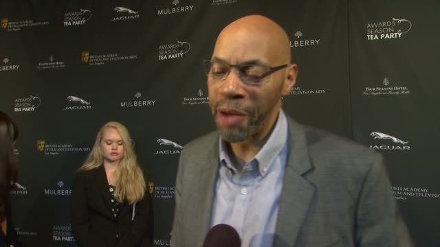 interview john ridley on being a part of the afternoon at bafta la 2014 awards season tea party at four seasons hotel los angeles at beverly hills on... - bafta la tea party stock videos and b-roll footage