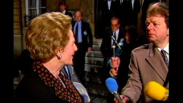 john sergeant pulls out of strictly come dancing margaret thatcher mp speaking to sergeant and other reporters sot - sergeant stock videos & royalty-free footage