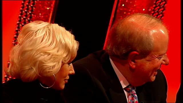 john sergeant pulls out of strictly come dancing: press conference; rihanoff drinking water / rihanoff and sergeant listening to hunt / hunt next... - jeremy paxman stock videos & royalty-free footage