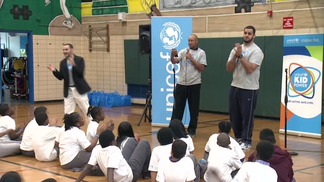 SPEECH John Starks and Oday Aboushi announce results of todays event at UNICEF Kid Power Kicks off in New York with Former New York Knicks Star John...