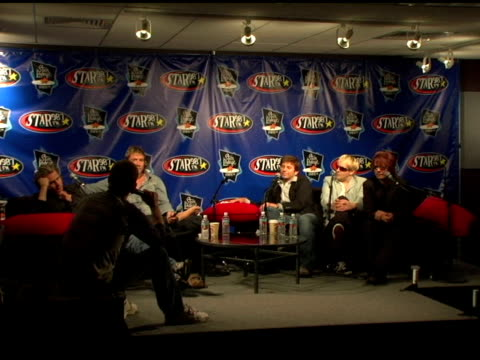 stockvideo's en b-roll-footage met john taylor simon le bon roger taylor nick rhodes and andy taylor of duran duran at the duran duran debuts of their new single at star 987 fm radio... - duran duran