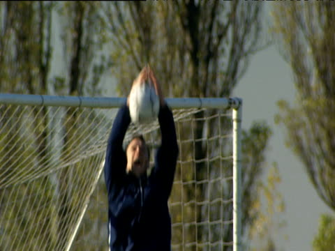 John Terry catches ball in front of net and throws it back during Chelsea FC training session London 07 Nov 03