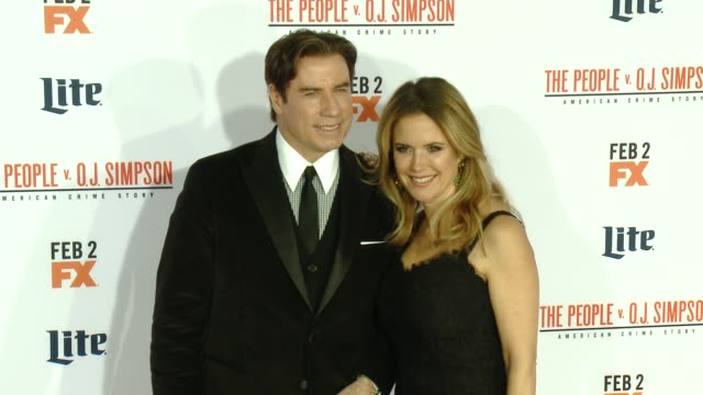 john travolta and kelly preston at fx's the people v oj simpson american crime story premiere at westwood village theatre on january 27 2016 in... - westwood village stock-videos und b-roll-filmmaterial