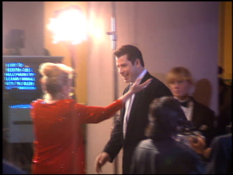 john travolta at the 1995 golden globe awards at the beverly hilton in beverly hills, california on january 21, 1995. - golden globe awards stock videos & royalty-free footage