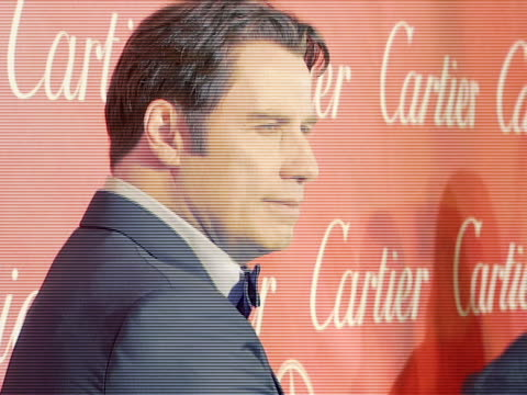 john travolta at the 2008 palm springs international film festival hosts starstudded awards gala presented by cartier red carpet arrivals at palm... - cartier video stock e b–roll