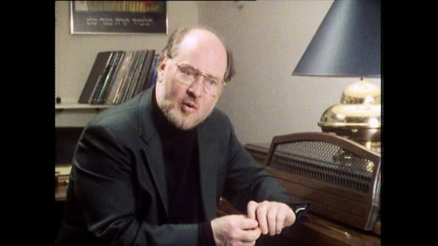 "john williams, speaking in 1984, revealing which of his film scores is his favourite: ""well people ask me that question and i answer it differently... - balding stock videos & royalty-free footage"