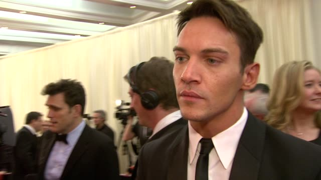 johnathan rhys meyers on being nominated and on how much television series in the us are like making very long films at the irish film television... - television awards stock videos & royalty-free footage