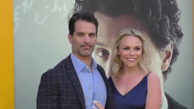 johnathon schaech & julie solomon at the premiere of national geographic's 'genius' on april 24, 2017 in los angeles, california. - genius stock videos & royalty-free footage