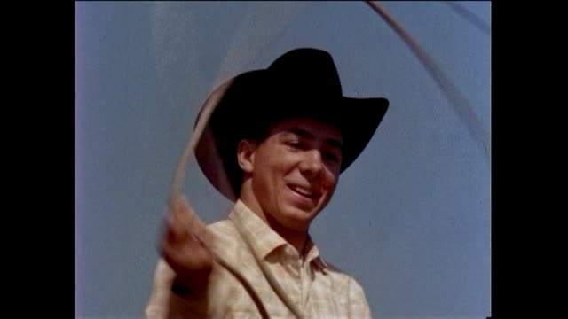 johnny crawford mark mccain from the rifleman and bob crawford johnny performs lasso tricks - cowboy stock videos & royalty-free footage